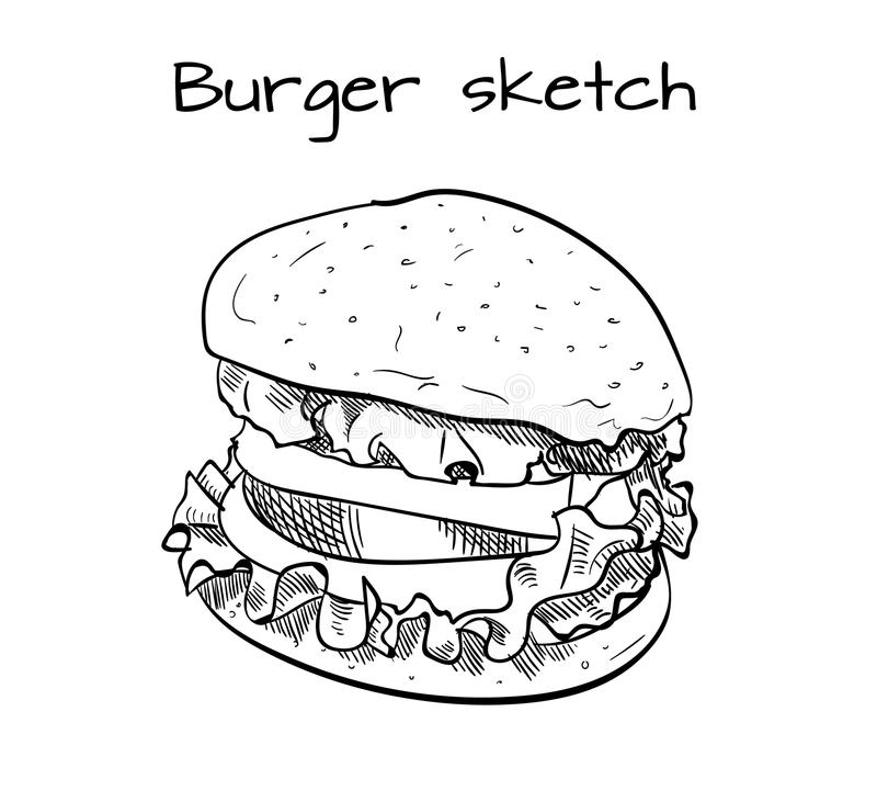 手拉的汉堡 传染媒介外形图 快餐产品 库存例证