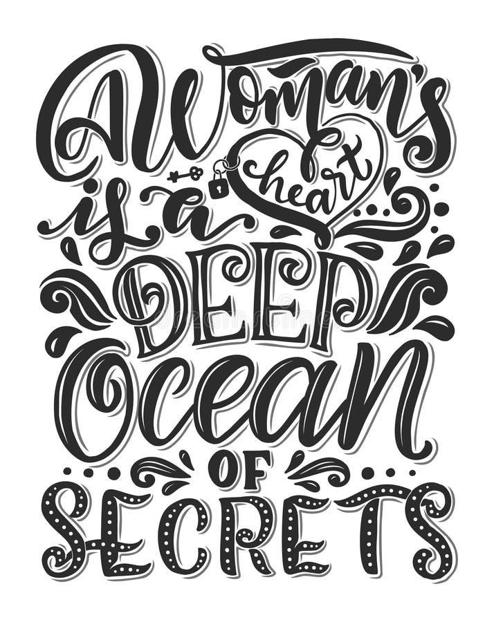 手拉的浪漫印刷术海报 关于妇女的可爱的行情 书法字法例证为救球天或 皇族释放例证