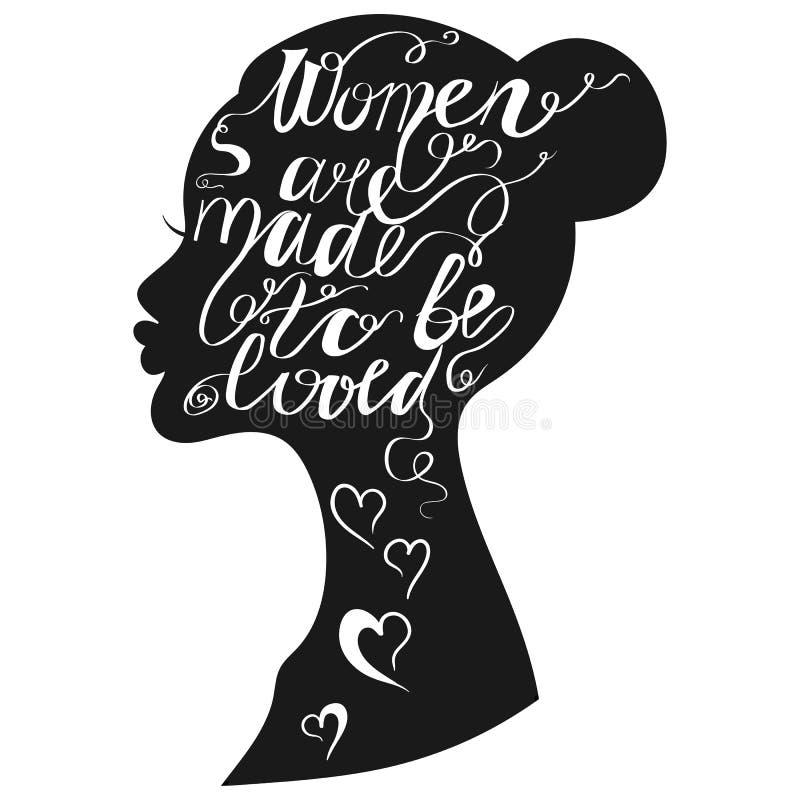 手拉的浪漫印刷术海报 可爱的行情妇女是ma 皇族释放例证