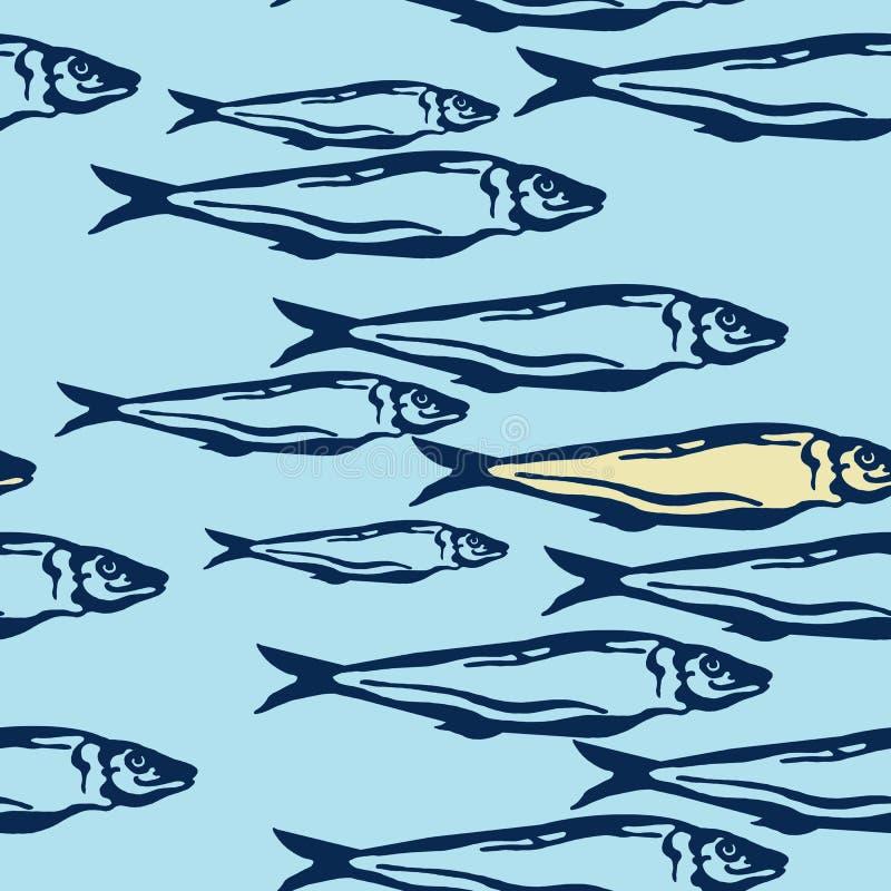 手拉的海洋无缝的样式蓝色和黄色颜色每小组在浅兰的背景的大西洋鲭鱼鱼 库存例证