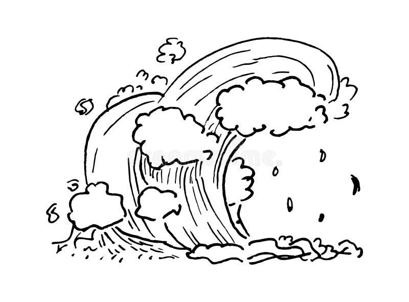 手拉的海浪乱画 剪影样式象 背景查出的白色 平的设计 也corel凹道例证向量 皇族释放例证