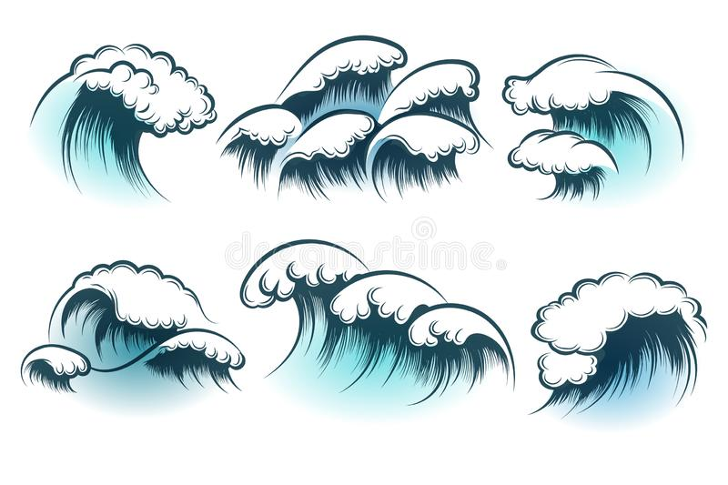 手拉的海浪集合 向量例证