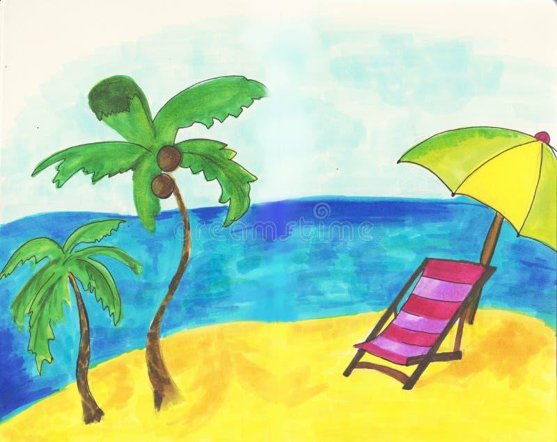 手拉的海边风景 与海滩睡椅沙滩的热带手段,异乎寻常的棕榈树五颜六色的现实剪影 库存例证