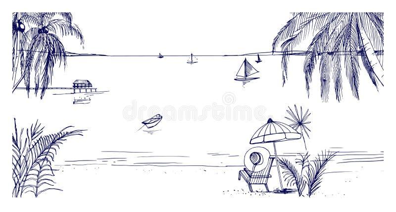 手拉的海边风景 与轻便折叠躺椅的热带手段和伞、沙滩、异乎寻常的棕榈树和帆船 向量例证
