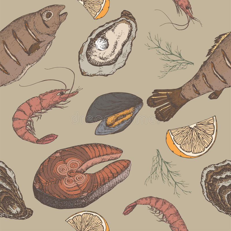 手拉的海鲜传染媒介颜色无缝的样式 库存例证
