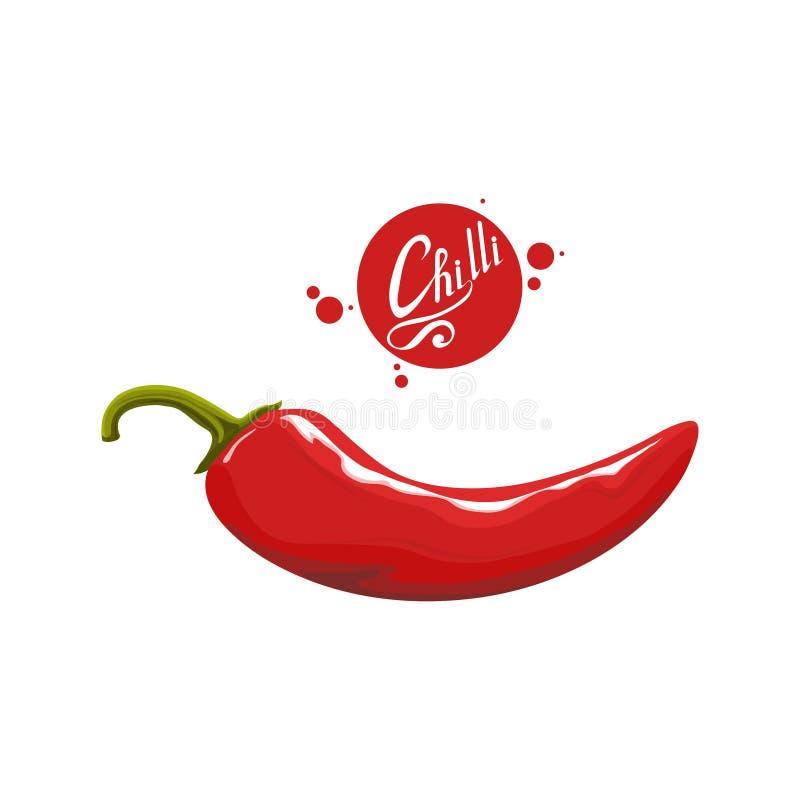 手拉的炽热胡椒 辣成份 辣椒商标 加香料在白色背景隔绝的辣椒 食物健康自然 库存例证