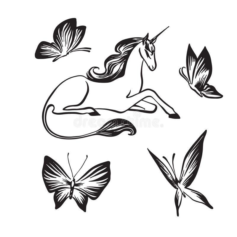 手拉的独角兽和蝴蝶概述剪影 在白色背景隔绝的传染媒介不可思议的贷方图画 ?? 库存例证