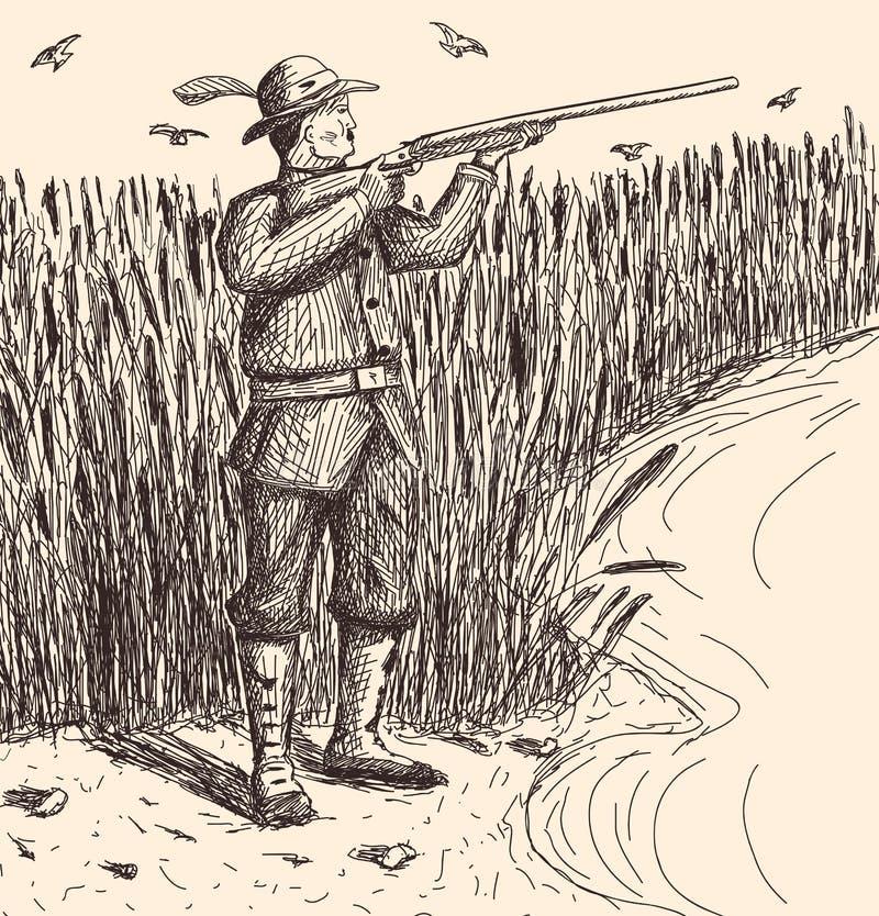 手拉的猎人 库存图片