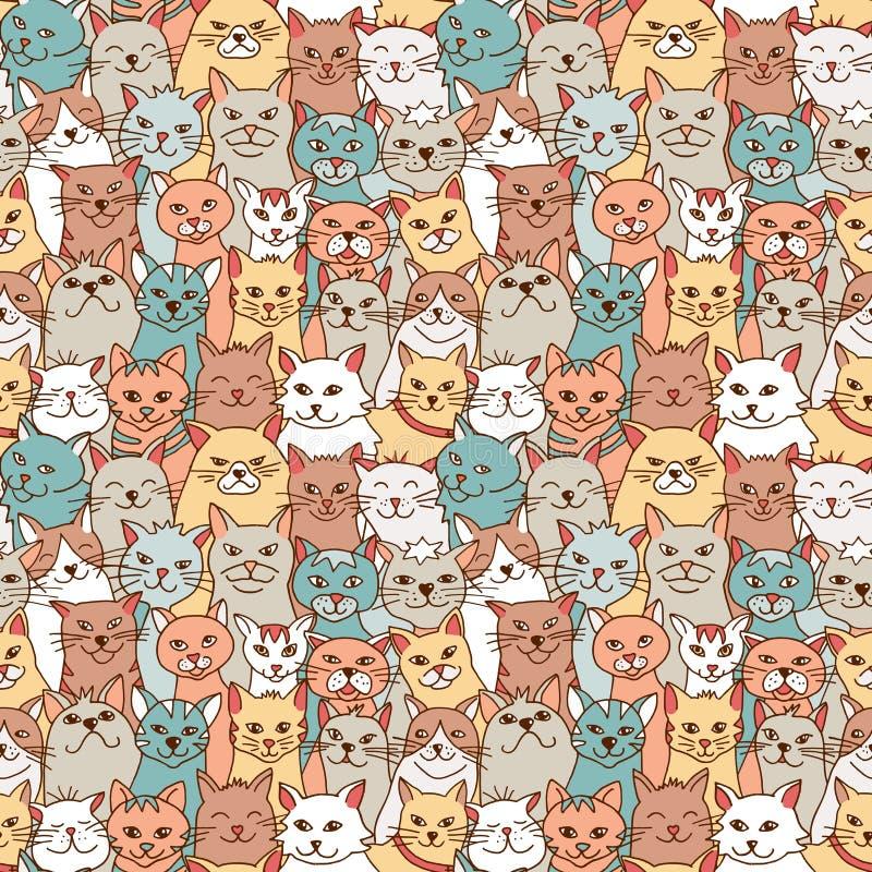 手拉的猫的无缝的样式 库存例证
