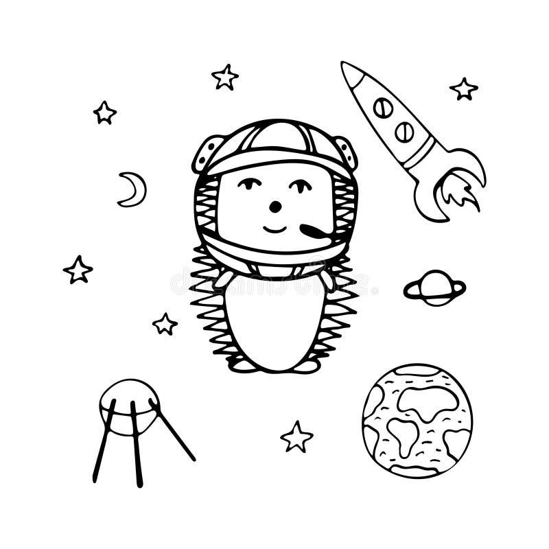 手拉的猬在太空火箭,星中的宇航员 库存例证
