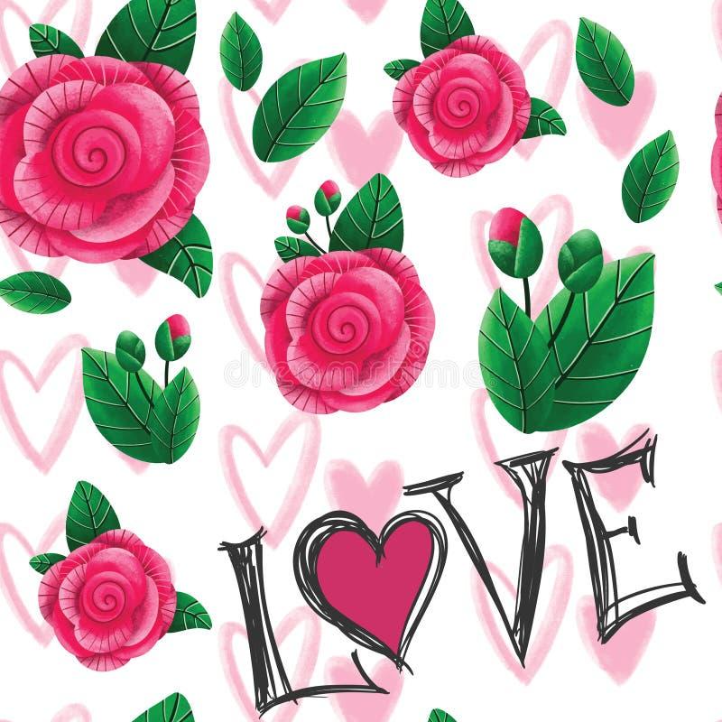 手拉的玫瑰和心脏的乱画无缝的样式 情人节或婚姻的装饰的例证印刷品 库存例证
