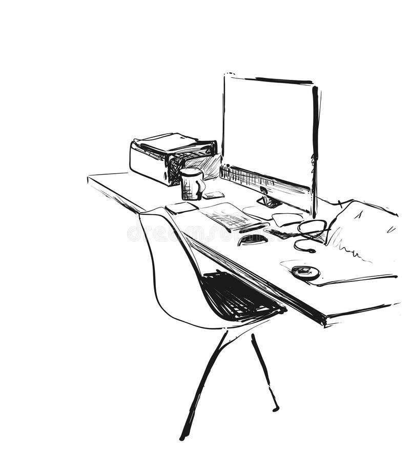 手拉的现代工作场所 椅子和计算机剪影 库存例证