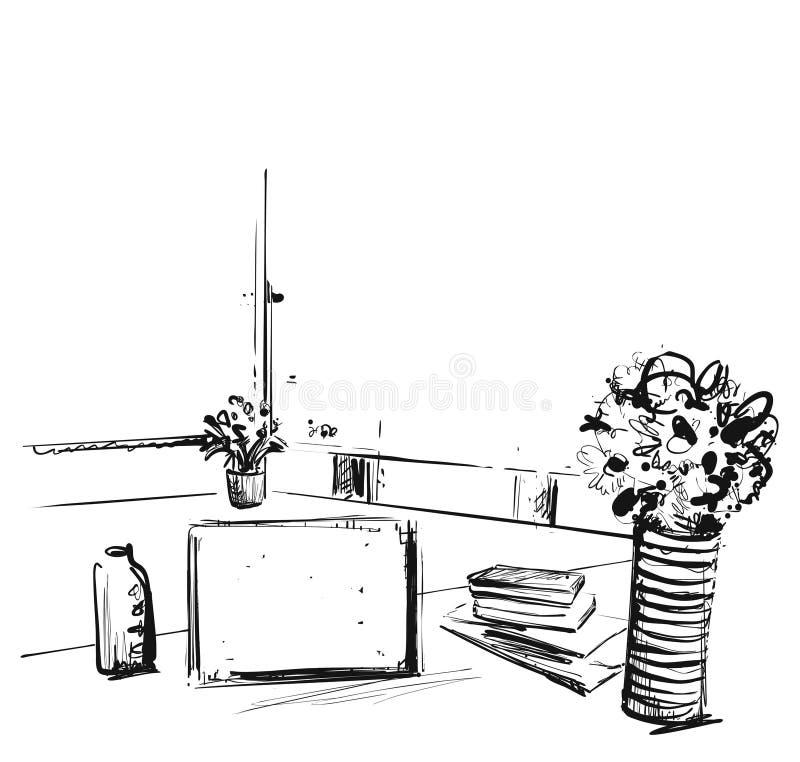 手拉的现代工作场所 椅子和计算机剪影 向量例证