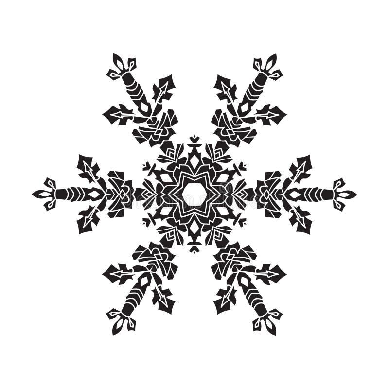 手拉的现实剪影雪花 在空白背景的黑色 容易 向量例证