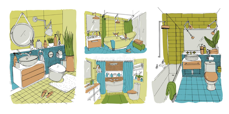 手拉的现代卫生间和洗手间室内设计收藏 被设置的五颜六色的传染媒介剪影例证 向量例证