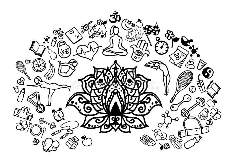 手拉的瑜伽剪影,例证 库存例证