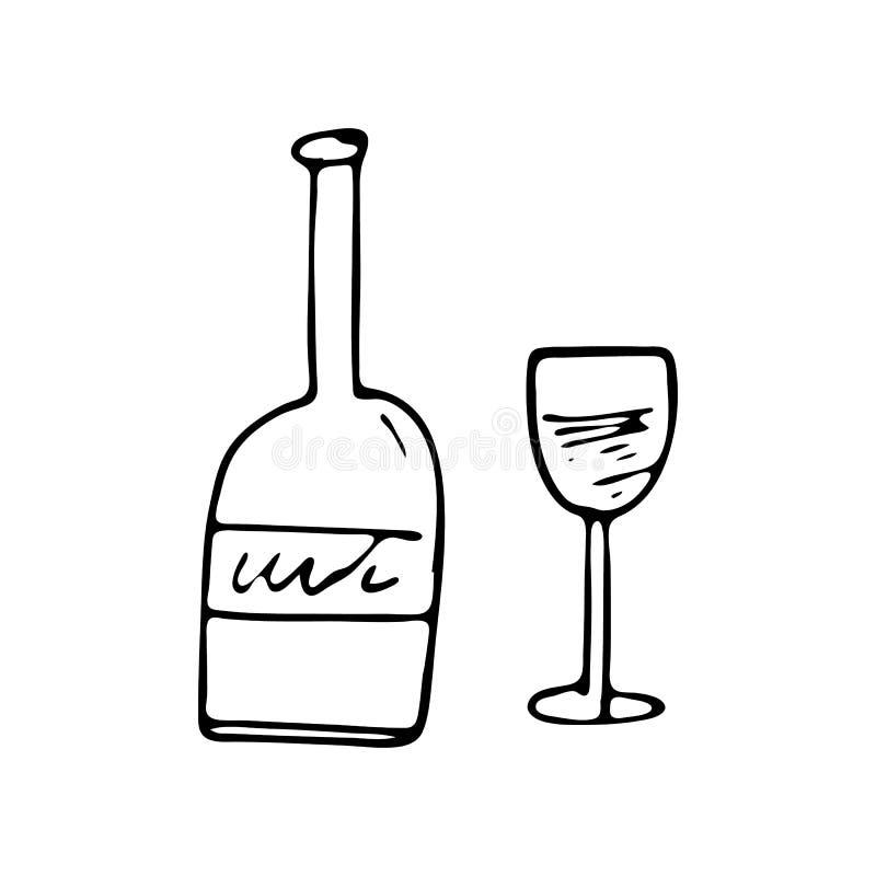 手拉的瓶和玻璃乱画象 手拉的黑剪影 库存例证