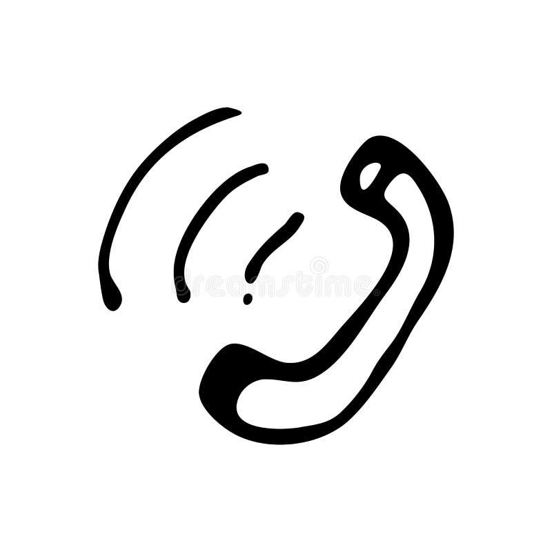 手拉的电话乱画 剪影样式象 装饰元素 库存例证