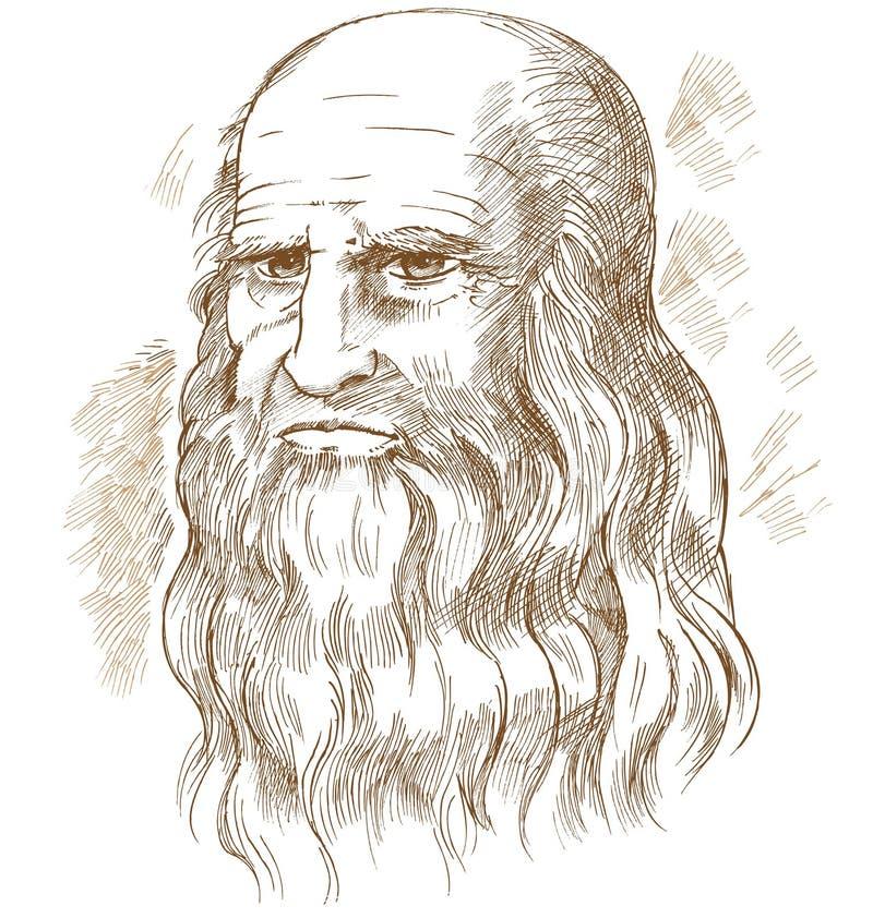 手拉的画象 Leonardo Da Vinci 库存例证