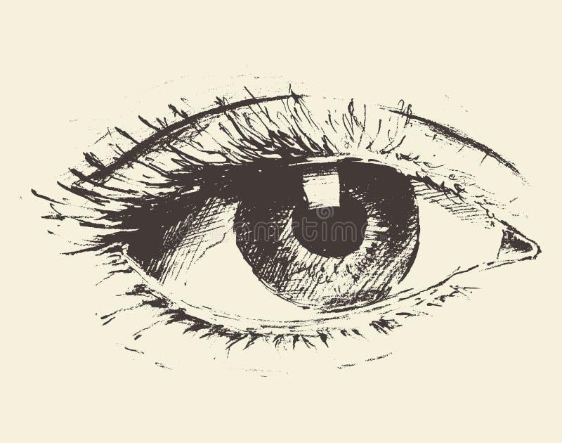 手拉的眼睛的葡萄酒例证,剪影 库存例证
