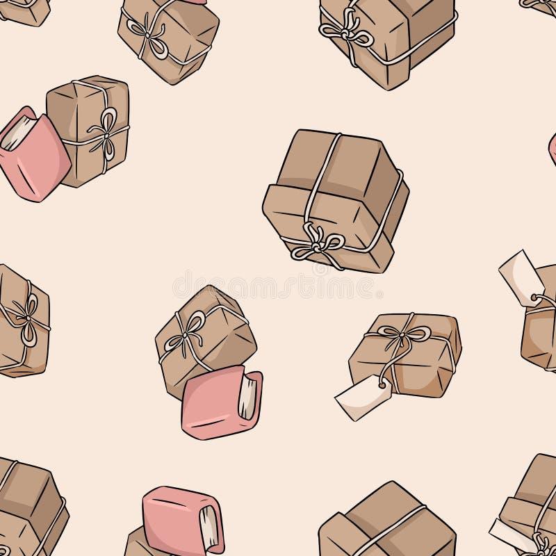 手拉的礼物盒乱画无缝的样式 r 皇族释放例证