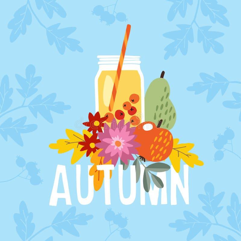手拉的秋天党贺卡,与鸡尾酒饮料的邀请在一个玻璃瓶子 苹果计算机、梨果子和莓果和 皇族释放例证