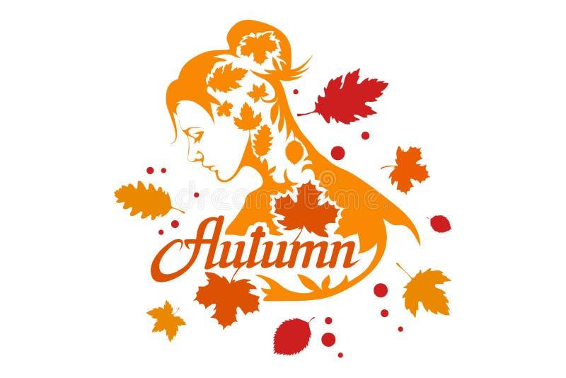 手拉的秋天字法,色的秋天概念隔绝在白色背景,秋叶,模板的彩色插图 皇族释放例证
