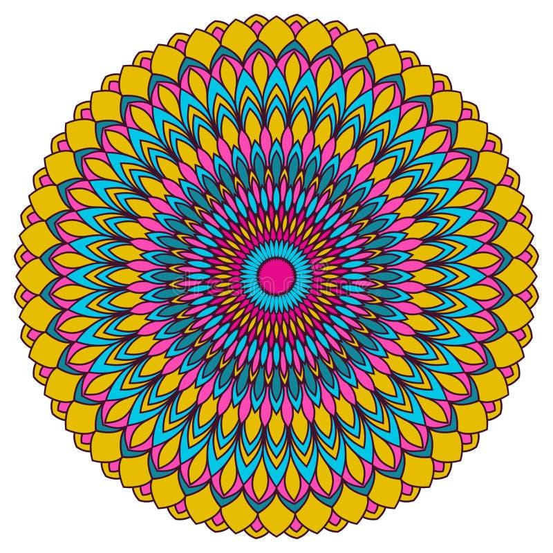 手拉的种族装饰圆的抽象明亮的杂色的背景 向量例证