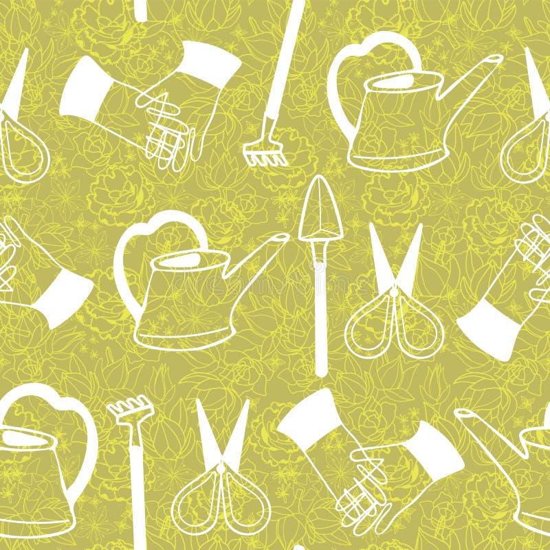 手拉的空白线路在花卉多汁植物和仙人掌背景的艺术玻璃容器园艺工具在松软的黄绿色口气 向量例证