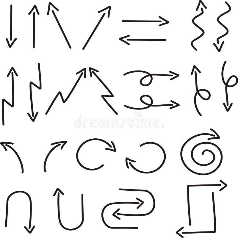 手拉的箭头剪影 皇族释放例证