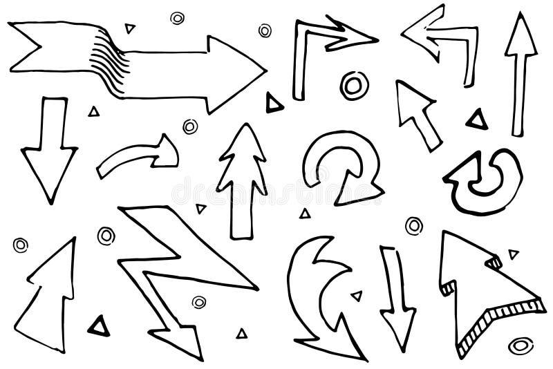 手拉的箭头被设置的乱画象 手拉的黑剪影 标志 向量例证
