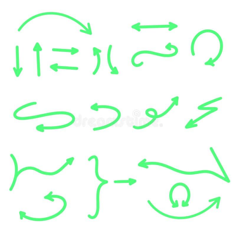 ?? ?? 手拉的箭头集合汇集传染媒介例证 在白色背景隔绝的尖 霓虹绿色 向量例证