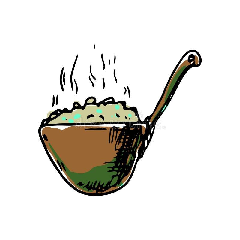 手拉的粥五颜六色的象 手拉的黑剪影 标志标志 装饰元素 奶油被装载的饼干 查出 平面 向量例证