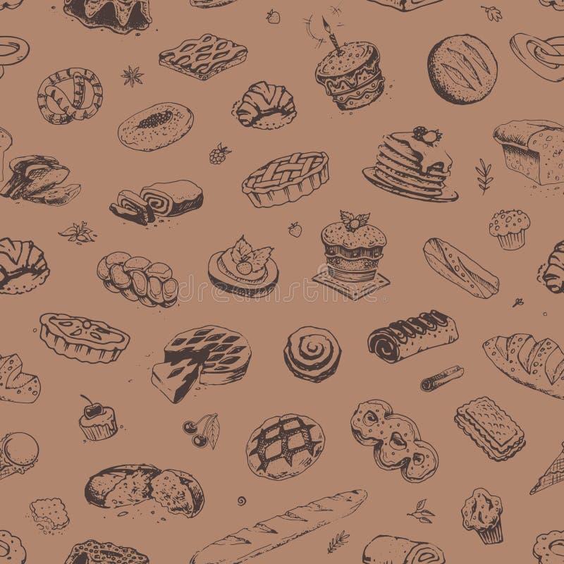 手拉的糖果店和面包店样式 向量例证