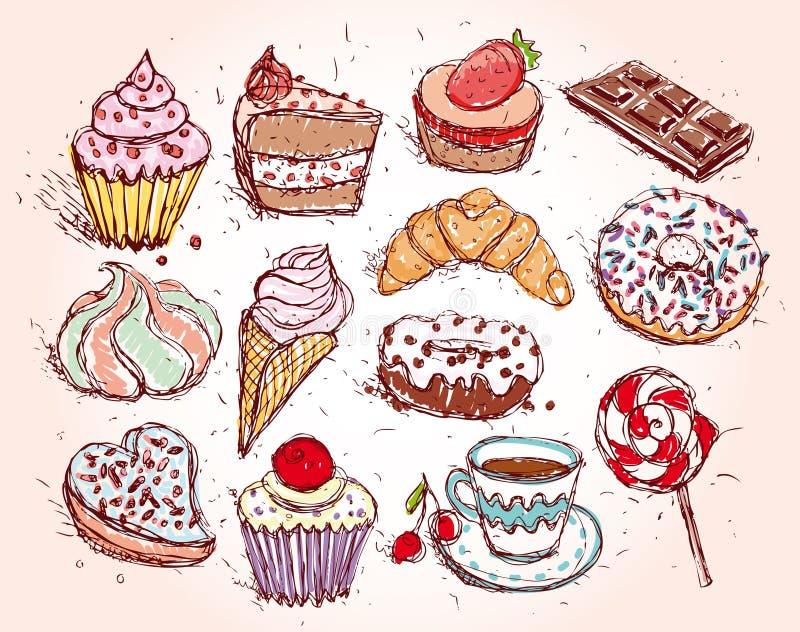 手拉的糖果店集合新月形面包杯形蛋糕糖果蛋白软糖冰淇凌蛋糕多福饼和咖啡 皇族释放例证
