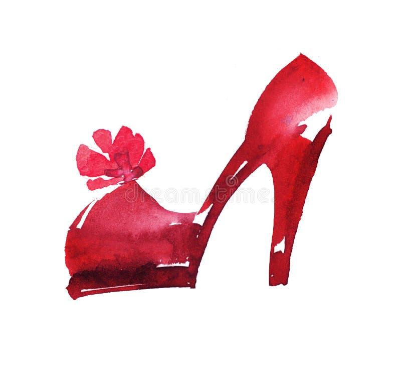 手拉的红色象穿上鞋子例证 皇族释放例证