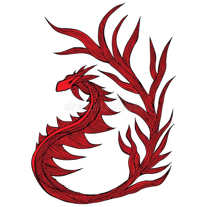 手拉的红色龙例证 意想不到的龙象 神话aminal徒手画的剪影  幻想概述 库存例证