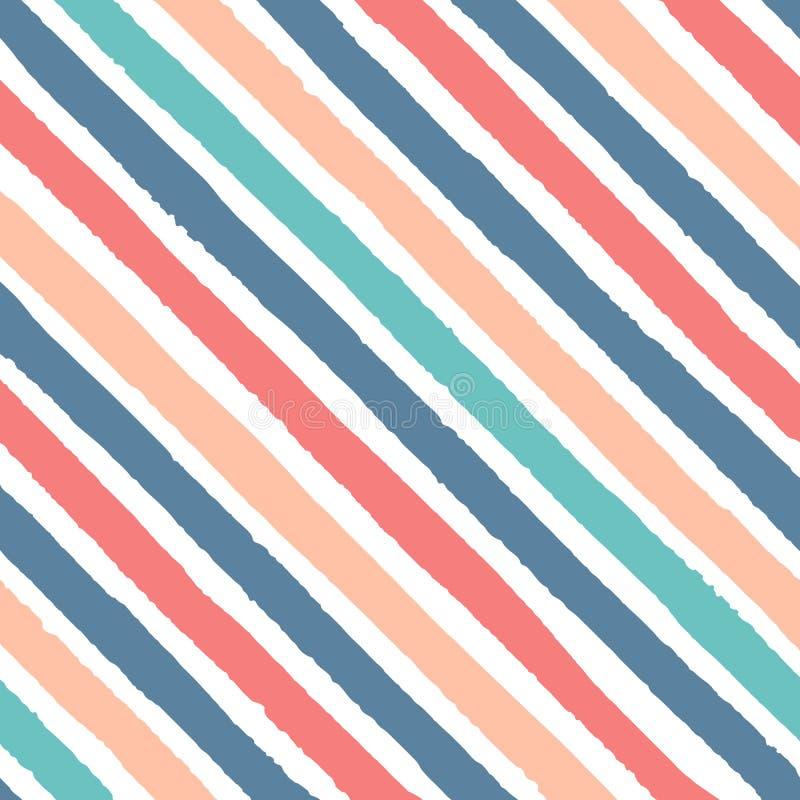 手拉的红色,蓝色,绿色和黄色颜色无缝的样式传染媒介对角难看的东西条纹  皇族释放例证