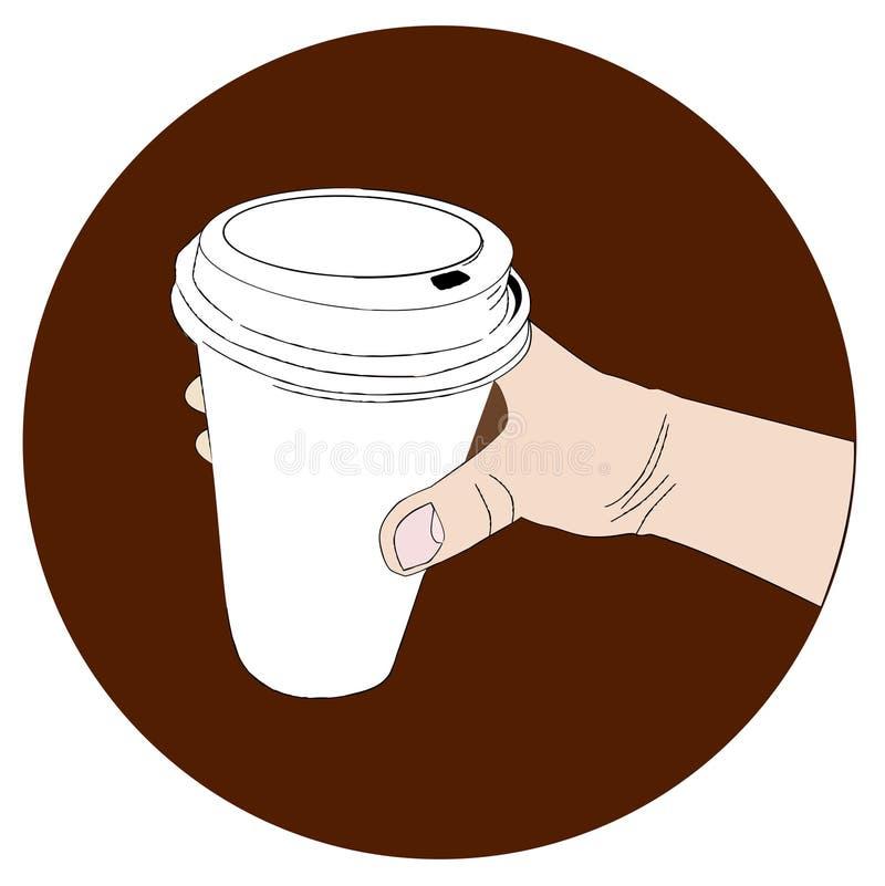 手拉的纸咖啡在手中 向量例证