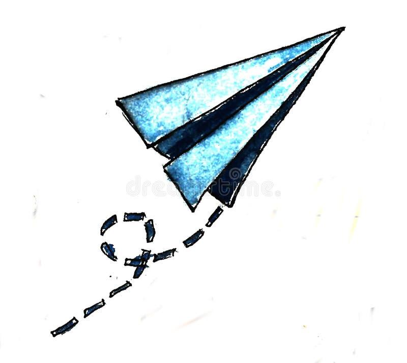手拉的纸蓝色飞机背景 r r 库存例证