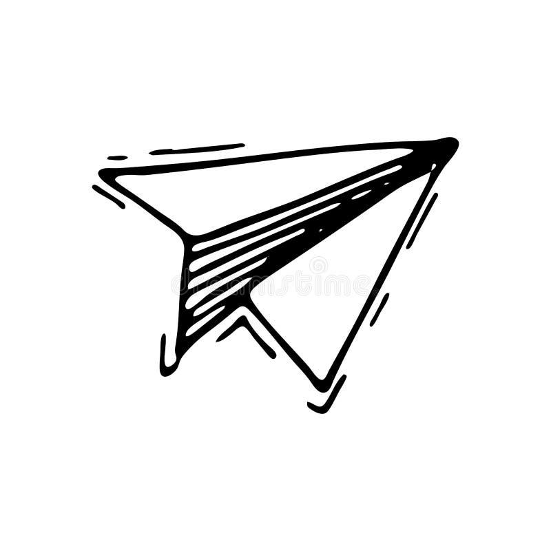 手拉的纸飞机乱画象 手拉的黑剪影 皇族释放例证