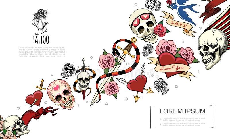 手拉的纹身花刺元素概念 向量例证