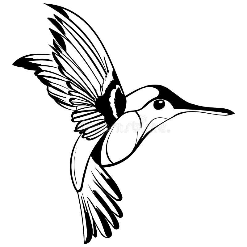 手拉的纹身花刺剪影Colibri图画 库存例证