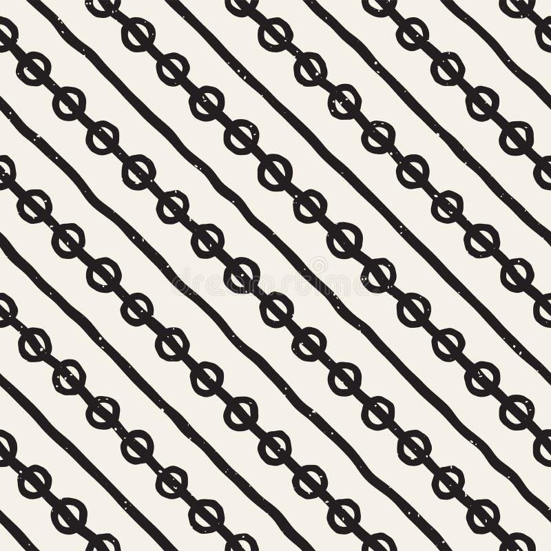手拉的线无缝的脏的样式 在黑白的抽象几何重复的纹理 向量例证