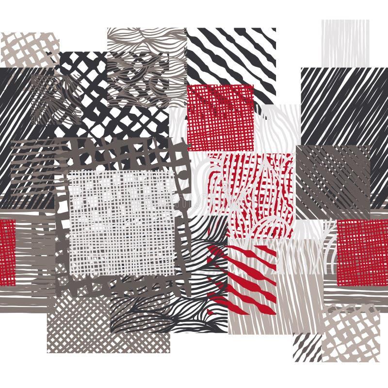 手拉的线纹理乱画样式无缝的样式,传染媒介 向量例证