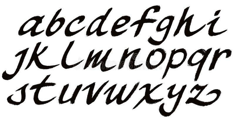 手拉的绘画的技巧字体 传染媒介小写字母 向量例证