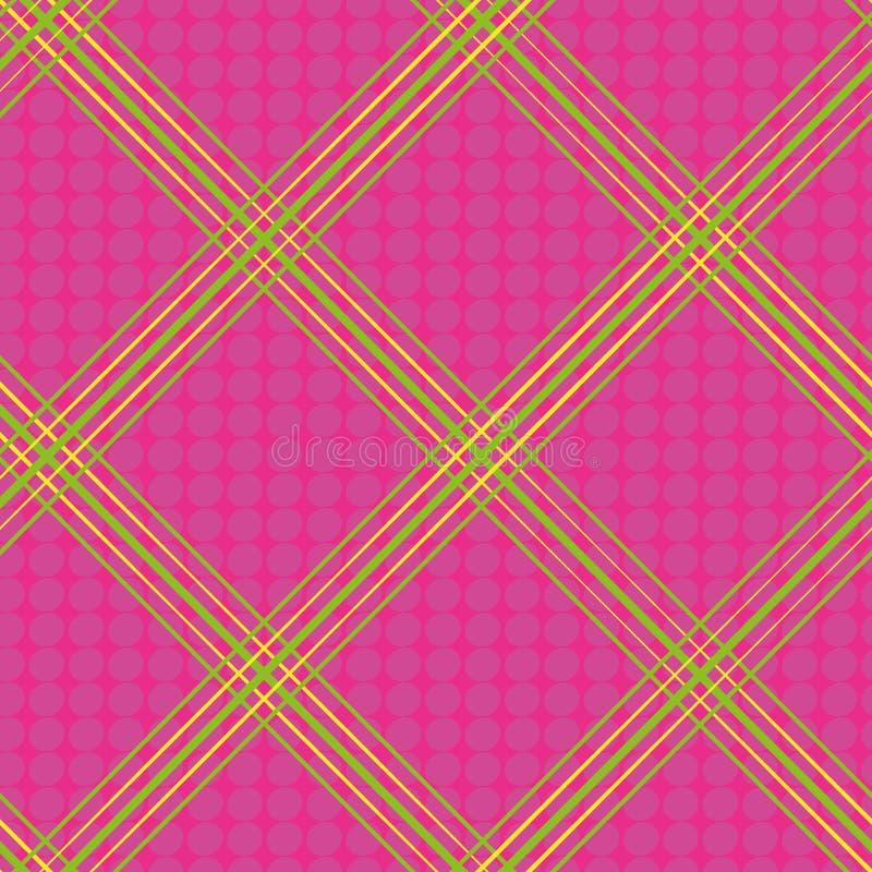 手拉的绿色和黄色对角霓虹格子花呢披肩设计 在流行粉红背景的无缝的传染媒介与微妙的乱画小点 向量例证