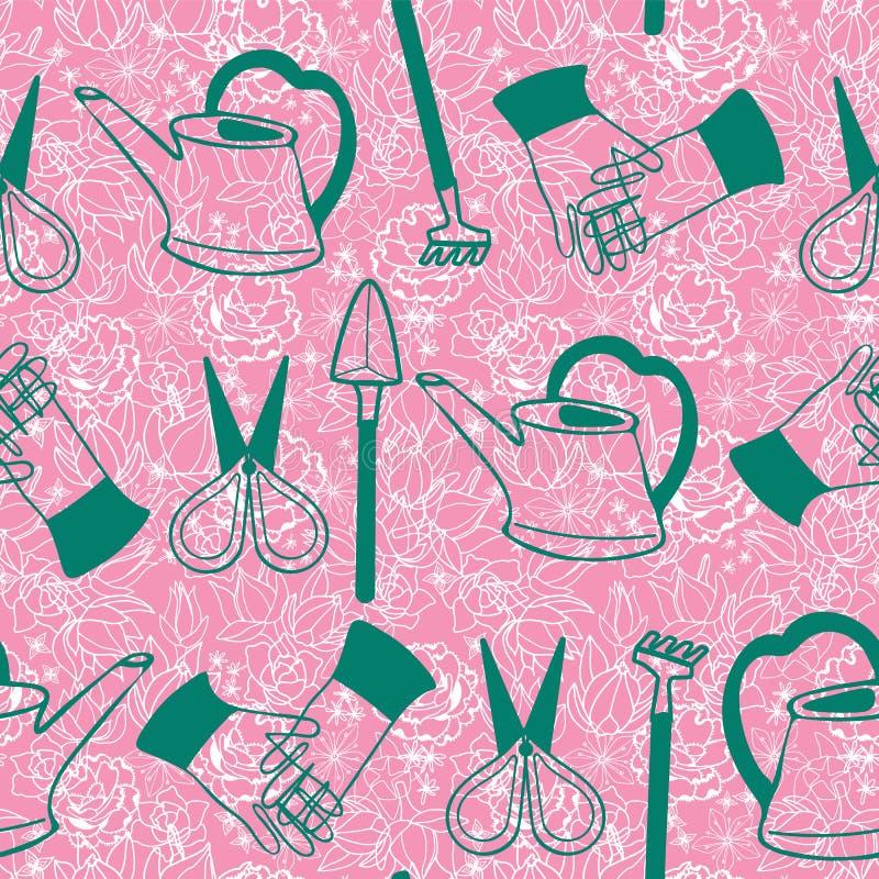 手拉的绿色在桃红色花卉多汁花和仙人掌背景的艺术玻璃容器园艺工具 模式无缝的向量 库存例证