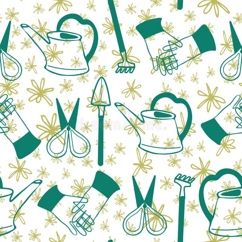 手拉的绿色在白色和黄绿色乱画花卉背景的艺术玻璃容器园艺工具 模式无缝的向量 向量例证