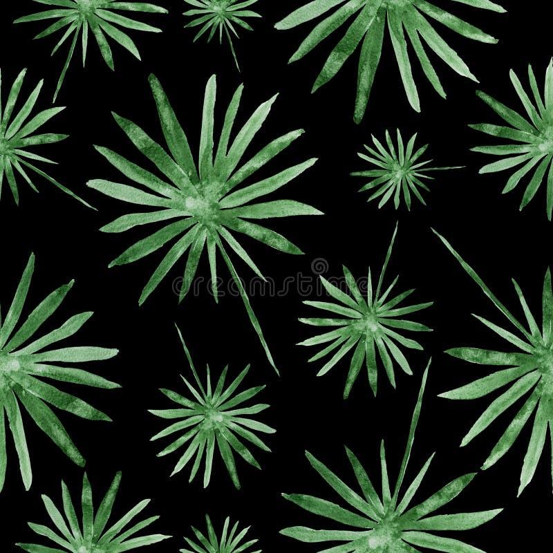 手拉的绿色棕榈叶,热带水彩绘画-在黑背景的无缝的样式 免版税库存图片